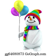 Melting-Snowman - 3d Snowman With Balloons