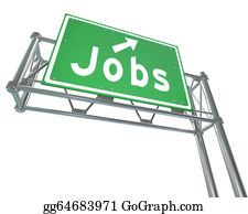Employment - Jobs Word Green Freeway Sign Pointing New Career Employment