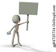 Void - 3d Man Holding A Blank Board