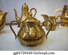 Tea-Pot - Old Golden Tea Pot With Oriental Ornament