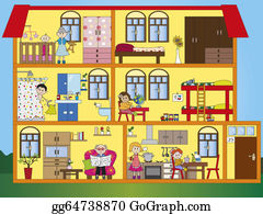 Illustration-With-Happy-Family - House Interior