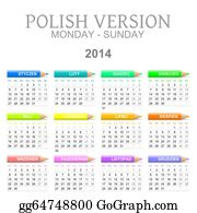 Calendar-For-January-2014 - 2014 Polish Calendar With Crayons