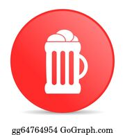 Beer - Beer Red Circle Web Glossy Icon
