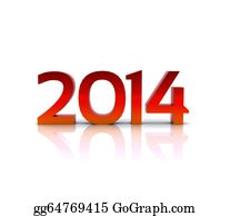 New-Year-2014 - 3d Illustration - 2014