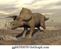 Horned-Lizard - Tricera Dinosaur Standing - 3d Render