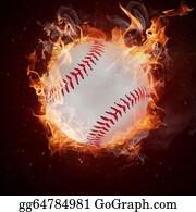 Baseball - Hot Baseball Ball In Fires Flame