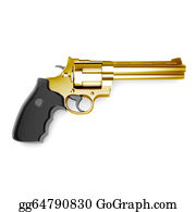 Antique-Pistols - Golden Revolver Gun