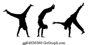 Acrobatic - Teens Walking On Hands Silhouettes