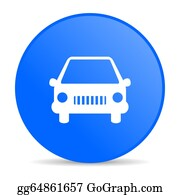 Street-Race - Car Blue Circle Web Glossy Icon