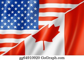 Government-And-Economy - Usa And Canada Flag