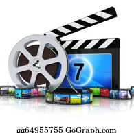 Movie-Production - Clapper Board, Film Reel And Filmstrip