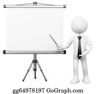 Professor - 3d White People. Projection Screen