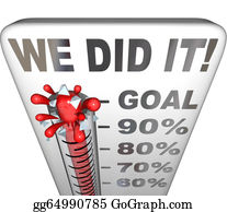 Fundraiser - We Did It Thermometer Goal Reached 100 Percent Tally