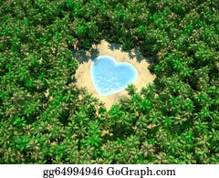 Jungle - Tropical Lake In Form Of Heart On Jungle