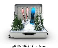 Suitcase - Suitcase Ski And Snowboard With Snow Inside