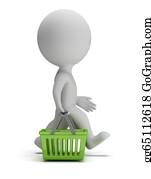 Basket - 3d Small People - Shopping Basket