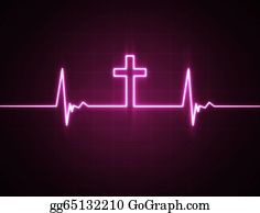 Prayer-Symbol - Heart Monitor With Cross