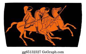 Knights - Ancient Greek Vase: Knights
