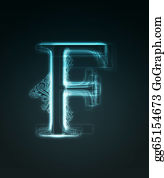 Letter-F - Glowing Font. Shiny Letter F
