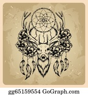 Dream-Catcher - Deer With Flowers And Dream Catcher