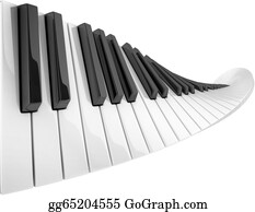 Music-Notes-On-Piano-Keyboard - Abstract Piano Keyboard Wave