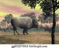 Prairie - Bisons In The Nature - 3d Render