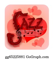 Sax - Jazz Music And Love Hearts