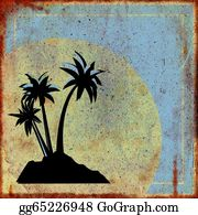 A-Palm-Tree-Sign-In-Yellow-And-Black - Rusty Sign With Palm Trees