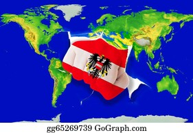Fist - Fist In Color  National Flag Of Austria    Punching World Map