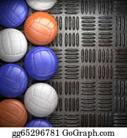Wall-Background - Volleyball Ball And Metal Wall Background