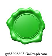 Eco-Friendly-Label - Green Wax Seal - Isolated