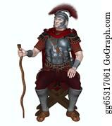 Badge - Roman Centurion With Vine Staff