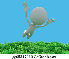 Gravity-Field - 3d Man Levitating On Field And Blue