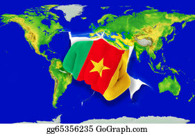 Fist - Fist In Color  National Flag Of Cameroon    Punching World Map