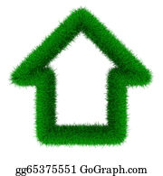 Recycle-Technology - House From Grass. Isolated 3d Image