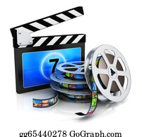Movie-Production - Clapper Board And Film Reel With Filmstrip