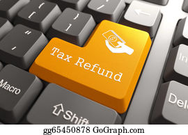 Tax-Return - Keyboard With Tax Refund Button.