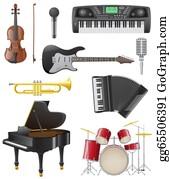 Drum-Set - Set Icons Of Musical Instruments Illustration