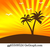A-Palm-Tree-Sign-In-Yellow-And-Black - Tropical Sunset Background With Palm Tree