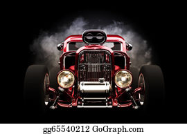 Muscle-Car - Hot Rod With Smoke Background, 3d M