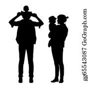 Parent - Parents With A Child Silhouettes