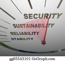 Retirement - A Speedometer With The Words Security, Sustainability, Reliability And Stability To Illustrate Financial Increases In Income For Retirement Or Economic Savings