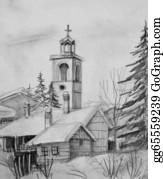 Church-Building - Pencil Drawing Of Old Church In Bansko