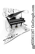 Music-Notes-On-Piano-Keyboard - 3d Opened Grand Piano On A Long Flying Partition. White Background