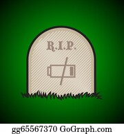 Headstone - Gravestone, Rest In Peace, Dead Battery - Illustration
