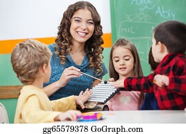 Teacher - Teacher And Children Playing With Xylophone In Classroom