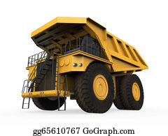 Mining - Yellow Mining Truck Isolated