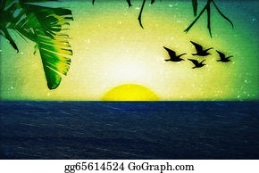 A-Palm-Tree-Sign-In-Yellow-And-Black - Sunset With Birds And Palm Trees