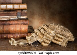 Wig - Lawyer's Wig And Books