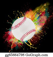 Baseball - Colorful Paint Splashing